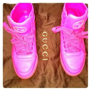 Gucci pink high top sneakers